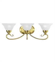 Picture for category Bathroom Vanity 3 Light With White Alabaster Glass Polished Brass size 27 in 300 Watts - World of Crystal