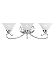 Picture for category Bathroom Vanity 3 Light With White Alabaster Steel Polished Chrome size 26.5 in 300 Watts - World of Crystal