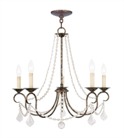 Picture for category Chandeliers 5 Light With Hand Applied Venetian Golden Bronze size 25 in 300 Watts - World of Crystal