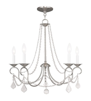 Picture for category Chandeliers 5 Light Pennington With Brushed Nickel Finish size 25 in 300 Watts - World of Crystal