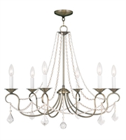 Picture for category Chandeliers 6 Light With Clear Crystals Antique Brass size 28 in 360 Watts - World of Crystal