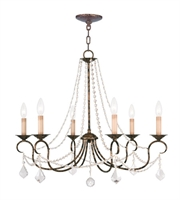 Picture for category Chandeliers 6 Light With Hand Applied Venetian Golden Bronze size 28 in 360 Watts - World of Crystal