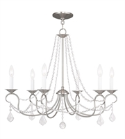 Picture for category Chandeliers 6 Light Pennington With Brushed Nickel Finish size 28 in 360 Watts - World of Crystal