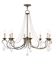 Picture for category Chandeliers 8 Light With Hand Applied Venetian Golden Bronze size 34 in 480 Watts - World of Crystal