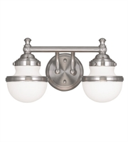 Picture for category Bathroom Vanity 2 Light With Satin Opal White Glass Steel Brushed Nickel size 15 in 150 Watts - World of Crystal