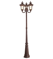 Picture for category Outdoor Post 3 Light Oxford With Hand Blown Light Amber Water Glass Imperial Bronze size 87 in 300 Watts - World of Crystal