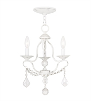 Picture for category Mini Chandeliers 3 Light With Antique White Finish size 12 in 180 Watts - World of Crystal