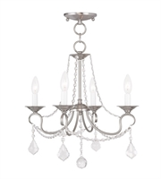 Picture for category Pendants Porch 4 Light With Clear Crystals Brushed Nickel size 18 in 240 Watts - World of Crystal
