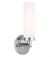 Picture for category Wall Sconces 1 Light With Satin Opal White Hand Blown Twist Lock Cylinder Gl Chrome size 11 in 60 Watts - World of Crystal