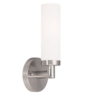 Picture for category Wall Sconces 1 Light With Satin Opal White Hand Blown Twist Lock Cylinder Brushed Nickel Finish size 33 in 60 Watts - World of Crystal