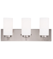 Picture for category Bathroom Vanity 3 Light With Hand Blown Satin Opal White Cylinder Glass Brushed Nickel size 18 in 180 Watts - World of Crystal