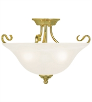 Picture for category Flush Mounts 3 Light With White Alabaster Glass Polished Brass size 19 in 300 Watts - World of Crystal