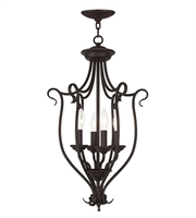 Picture for category Pendants Porch 4 Light With White Alabaster Glass Bronze size 15 in 240 Watts - World of Crystal