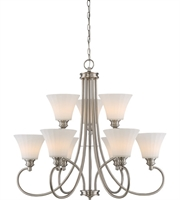 Picture for category Nuvo 62/810 Tess Chandeliers 33in Brushed Nickel 9-light