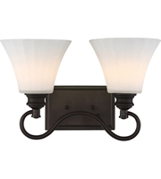 Picture for category Nuvo 62/902 Tess Bath Lighting 16in Aged Bronze 2-light