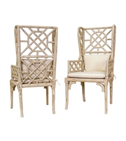 Picture for category Guild Master 657530PCR Bamboo Chairs 24in Cream Mahogany