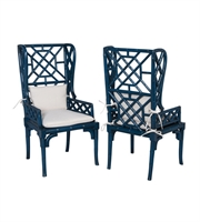 Picture for category Guild Master 694018P Bamboo Chairs 24in Blue Mahogany