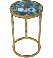 Picture for category Sterling Industries 3138-291 Krete Tables 12in Blue Agate Metal Glass