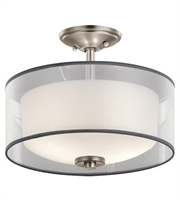 Picture for category Kichler 43154AP Tallie Semi Flush 14in Antique Pewter Steel 2-light