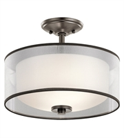 Picture for category Kichler 43154MIZ Tallie Semi Flush 14in Mission Bronze Steel 2-light