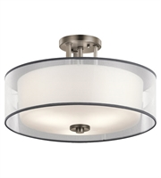 Picture for category Kichler 43194AP Tallie Semi Flush 18in Antique Pewter Steel Glass 3-light