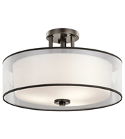 Picture for category Kichler 43194MIZ Tallie Semi Flush 18in Mission Bronze Steel 3-light