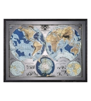 Picture for category Uttermost 32538 Mirrored World Map Decor 55in Black Mdf