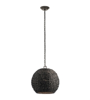 Picture for category Kichler 49809OZCW Palisades Outdoor Pendant 17in Olde Bronze Synthetic Wicker