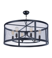 Picture for category Maxim 20115BKNAB Palladium Chandeliers 24in Black/Natural Aged Brass 5-light