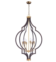 Picture for category Maxim 20296OIAB Crest Chandeliers 26in Oil Rubbed Bronze Antique Brass Steel