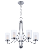 Picture for category Maxim 30265CLFTSN Mod Chandeliers 26in Satin Nickel Steel 5-light