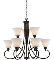 Picture for category Nuvo 62/910 Tess Chandeliers 33in Aged Bronze 9-light