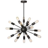 Picture for category Dainolite BRI-2182C-MB Industrial Chic Chandeliers 26in Matte Black Steel