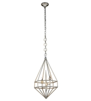 Picture for category Pendants 3 Light With Vintage Silver Leaf Finish E12 Bulb 14 inch 120 Watts - World of Classic