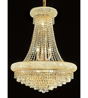 Picture for category Chandeliers 14 Light With Clear Crystal Elegant Cut Gold size 24 in 840 Watts - World of Classic