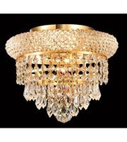 Picture for category Flush Mounts 3 Light With Gold Finish Swarovski Strass E12 Bulb 10 inch 180 Watts - World of Classic