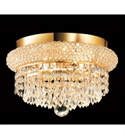 Picture for category Flush Mounts 4 Light With Gold Finish Swarovski Strass E12 Bulb 12 inch 240 Watts - World of Classic