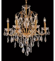 Picture for category Chandeliers 6 Light With Clear Crystal Spectra made with Swarovski Gold size 24 in 360 Watts - World of Classic