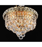 Picture for category Flush Mounts 4 Light With Gold Finish Swarovski Strass E12 Bulb 10 inch 240 Watts - World of Classic