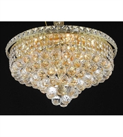 Picture for category Flush Mounts 8 Light With Gold Finish Swarovski Strass E12 Bulb 18 inch 480 Watts - World of Classic
