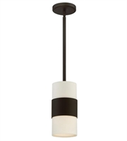 Picture for category Pendants Porch 1 Light With Steel Drum Cream Linen Dark Bronze size 6 in 60 Watts - World of Lighting