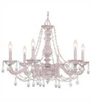 Picture for category Chandeliers 6 Light With Clear Crystal Clear Hand Cut Antique White size 28 in 360 Watts - World of Lighting