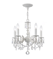 Picture for category Mini Chandeliers 5 Light With Wrought Iron Clear Crystal Clear Hand Cut Wet White size 14 in 300 Watts - World of Lighting
