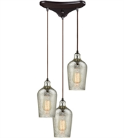 Picture for category Elk 10830/3 Hammered Glass Pendants 10in Oil Rubbed Bronze Metal Glass 3-light