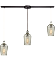 Picture for category Elk 10830/3L Hammered Glass Pendants 36in Oil Rubbed Bronze Metal Glass 3-light