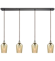 Picture for category Elk 10840/4LP Hammered Glass Pendants 46in Oil Rubbed Bronze Metal Glass