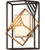 Picture for category Troy B6081 Cubist Wall Sconces 10in Bronze Gold Leaf Polished Stainless 1-light