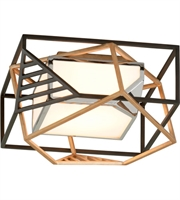 Picture for category Troy C6080 Cubist Flush Mounts 18in Bronze Gold Leaf Polished Stainless 1-light