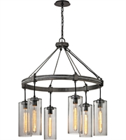 Picture for category Troy F5916 Union Square Pendants Graphite Hand worked Iron Glass 6-light