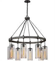 Picture for category Troy F5918 Union Square Pendants Graphite Hand worked Iron Glass 8-light